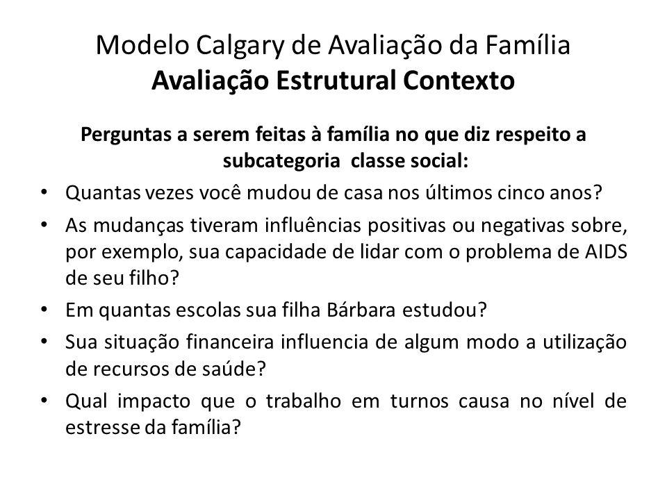 Modelo Calgary de Avaliação da Família Avaliação Estrutural Contexto Perguntas a serem feitas à família no que diz respeito a subcategoria classe soci