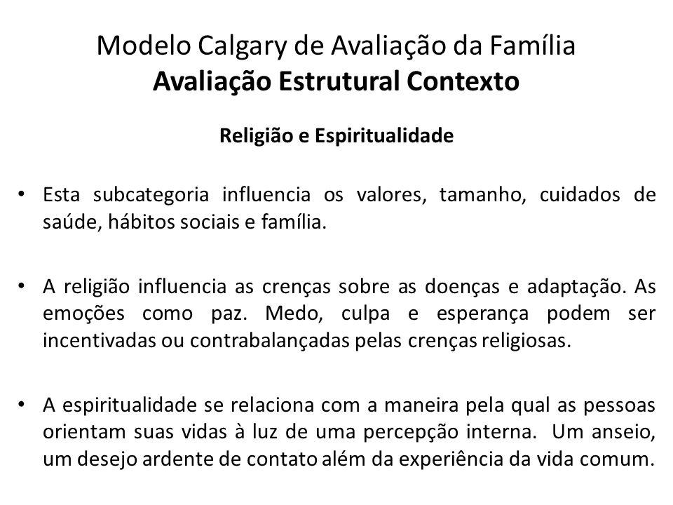 Modelo Calgary de Avaliação da Família Avaliação Estrutural Contexto Religião e Espiritualidade Esta subcategoria influencia os valores, tamanho, cuid