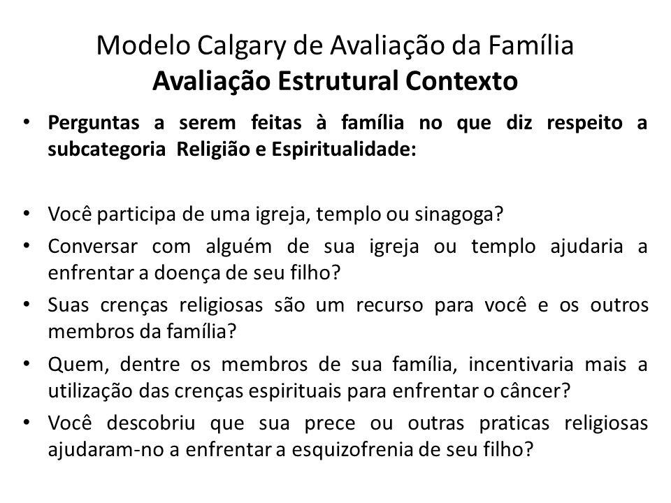 Modelo Calgary de Avaliação da Família Avaliação Estrutural Contexto Perguntas a serem feitas à família no que diz respeito a subcategoria Religião e