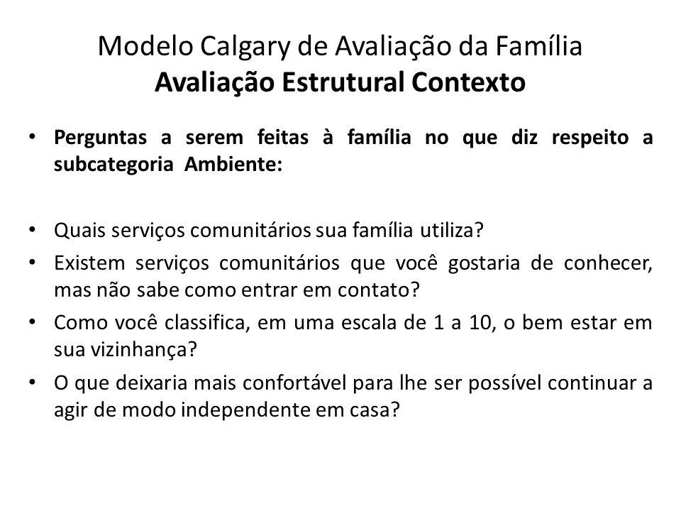 Modelo Calgary de Avaliação da Família Avaliação Estrutural Contexto Perguntas a serem feitas à família no que diz respeito a subcategoria Ambiente: Q