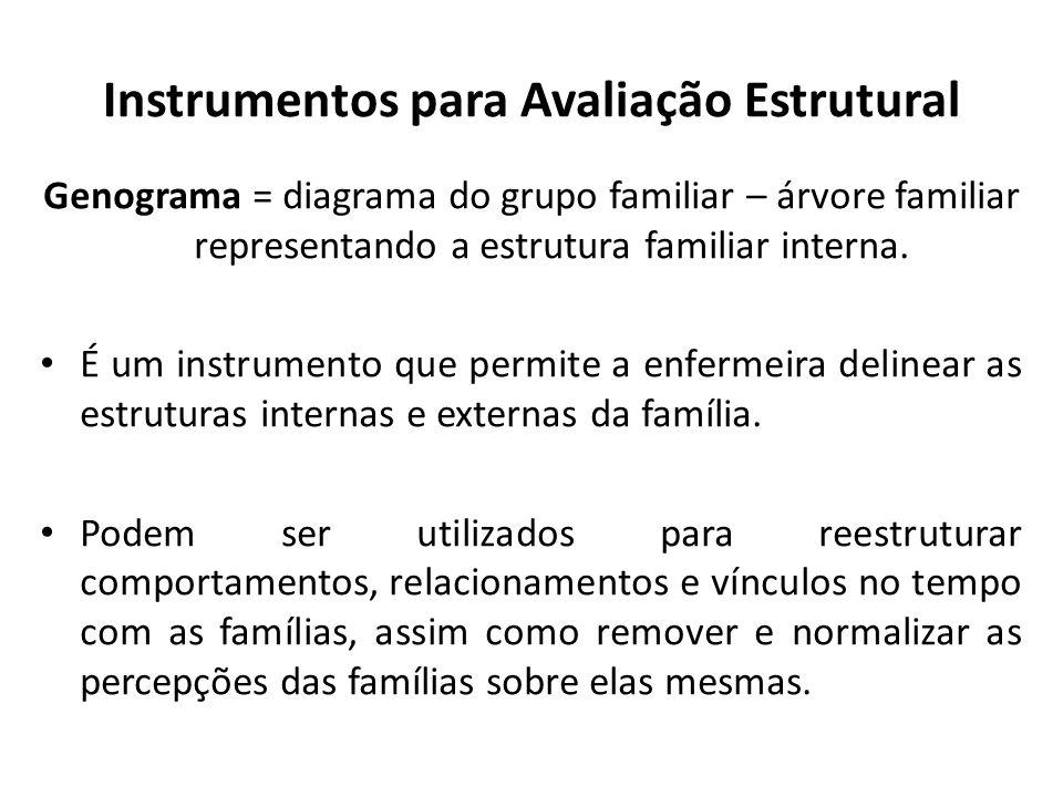 Instrumentos para Avaliação Estrutural Genograma = diagrama do grupo familiar – árvore familiar representando a estrutura familiar interna. É um instr