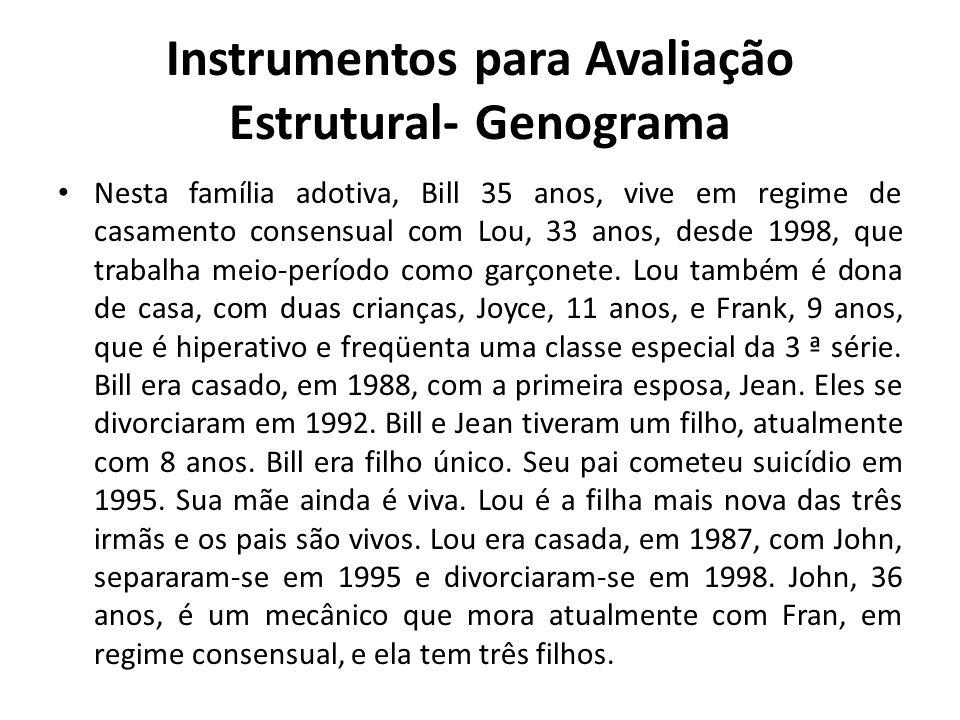 Instrumentos para Avaliação Estrutural- Genograma Nesta família adotiva, Bill 35 anos, vive em regime de casamento consensual com Lou, 33 anos, desde