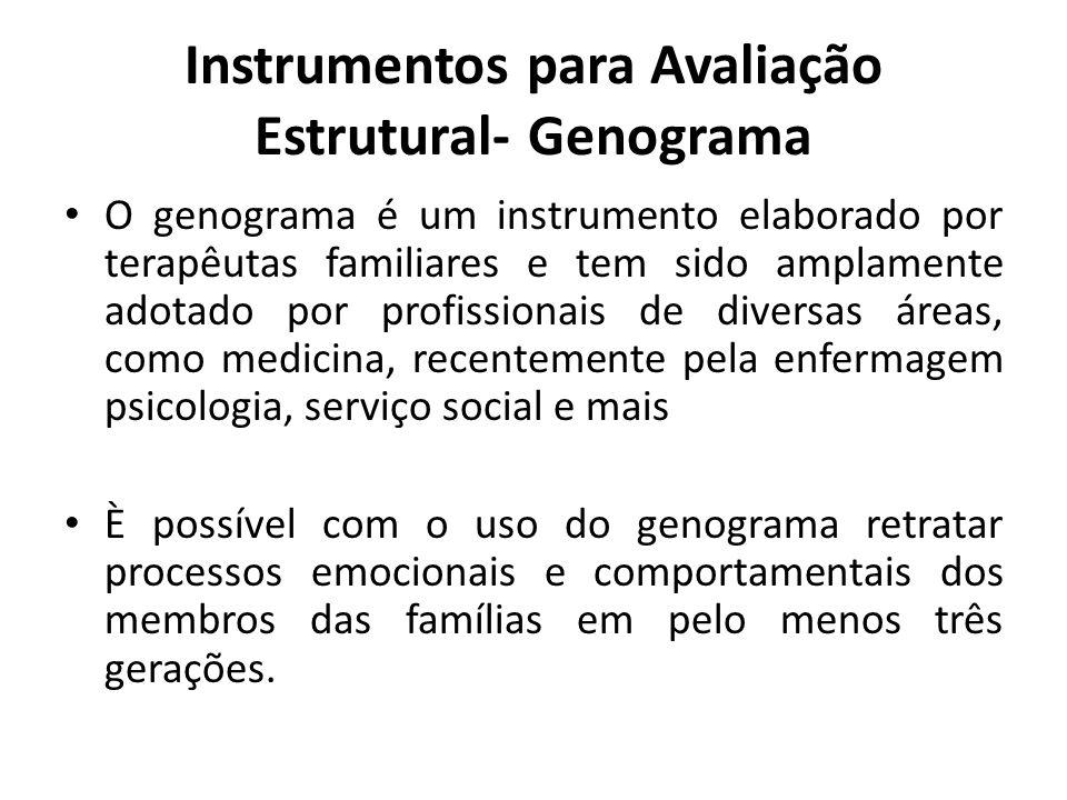Instrumentos para Avaliação Estrutural- Genograma O genograma é um instrumento elaborado por terapêutas familiares e tem sido amplamente adotado por p