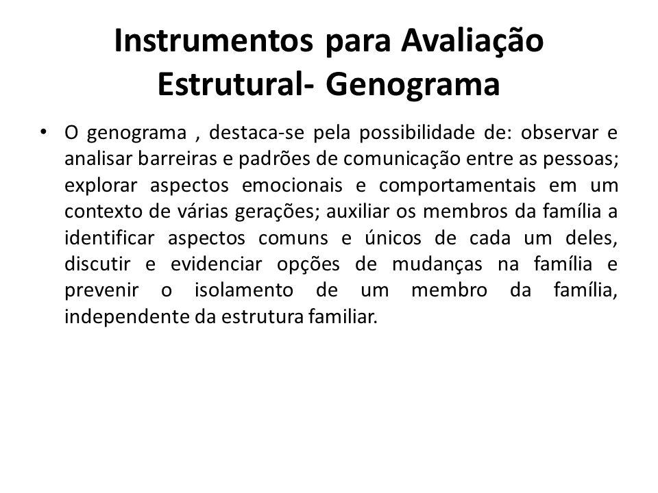 Instrumentos para Avaliação Estrutural- Genograma O genograma, destaca-se pela possibilidade de: observar e analisar barreiras e padrões de comunicaçã