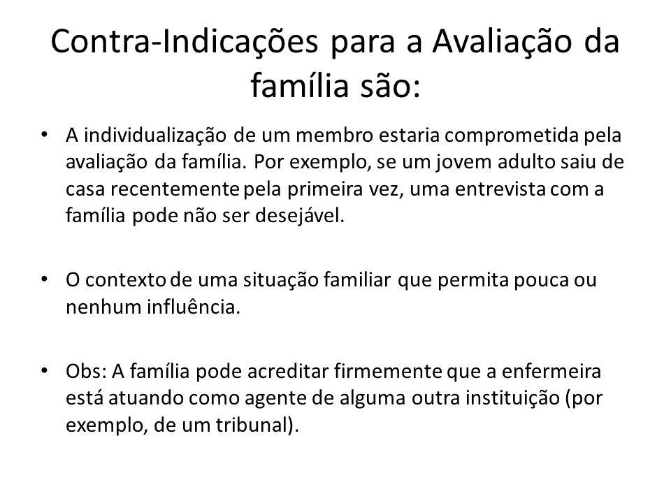 Contra-Indicações para a Avaliação da família são: A individualização de um membro estaria comprometida pela avaliação da família. Por exemplo, se um