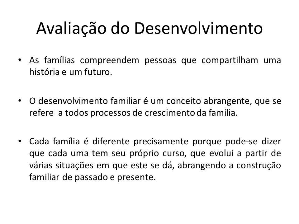 Avaliação do Desenvolvimento As famílias compreendem pessoas que compartilham uma história e um futuro. O desenvolvimento familiar é um conceito abran