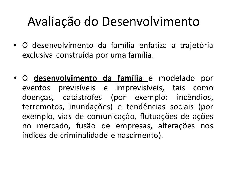 Avaliação do Desenvolvimento O desenvolvimento da família enfatiza a trajetória exclusiva construída por uma família. O desenvolvimento da família é m