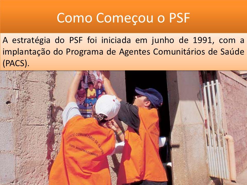 Como Começou o PSF A estratégia do PSF foi iniciada em junho de 1991, com a implantação do Programa de Agentes Comunitários de Saúde (PACS).