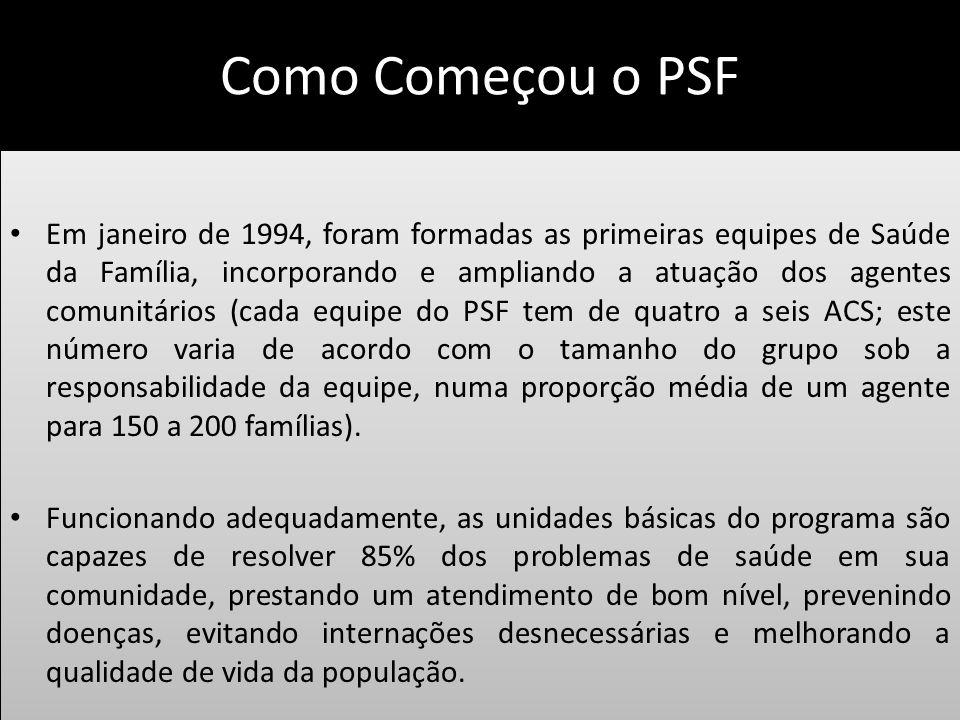 Como Começou o PSF Em janeiro de 1994, foram formadas as primeiras equipes de Saúde da Família, incorporando e ampliando a atuação dos agentes comunit