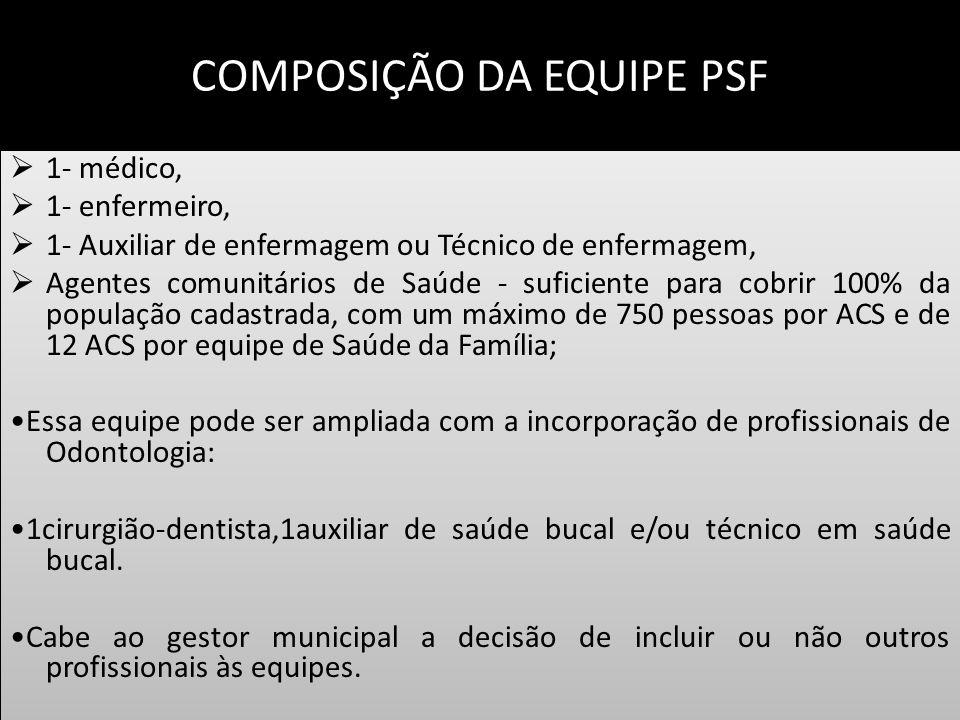 COMPOSIÇÃO DA EQUIPE PSF 1- médico, 1- enfermeiro, 1- Auxiliar de enfermagem ou Técnico de enfermagem, Agentes comunitários de Saúde - suficiente para
