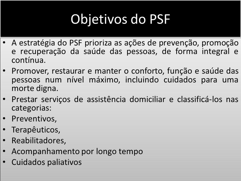 Objetivos do PSF A estratégia do PSF prioriza as ações de prevenção, promoção e recuperação da saúde das pessoas, de forma integral e contínua. Promov