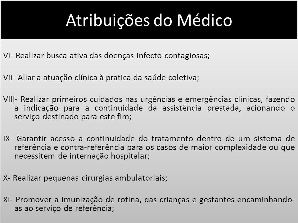 Atribuições do Médico VI- Realizar busca ativa das doenças infecto-contagiosas; VII- Aliar a atuação clínica à pratica da saúde coletiva; VIII- Realiz