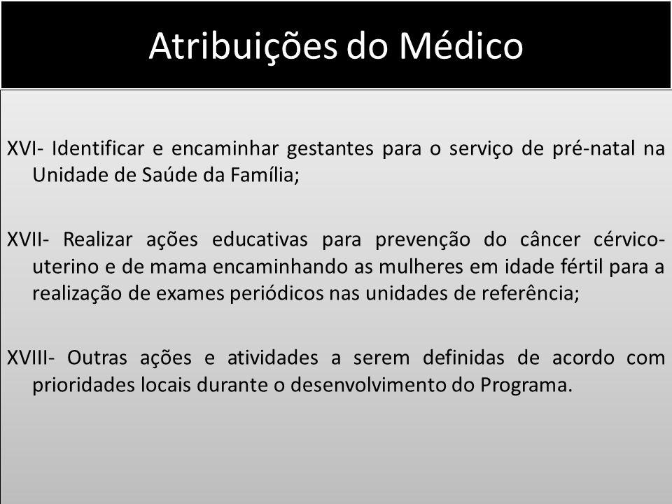 Atribuições do Médico XVI- Identificar e encaminhar gestantes para o serviço de pré-natal na Unidade de Saúde da Família; XVII- Realizar ações educati
