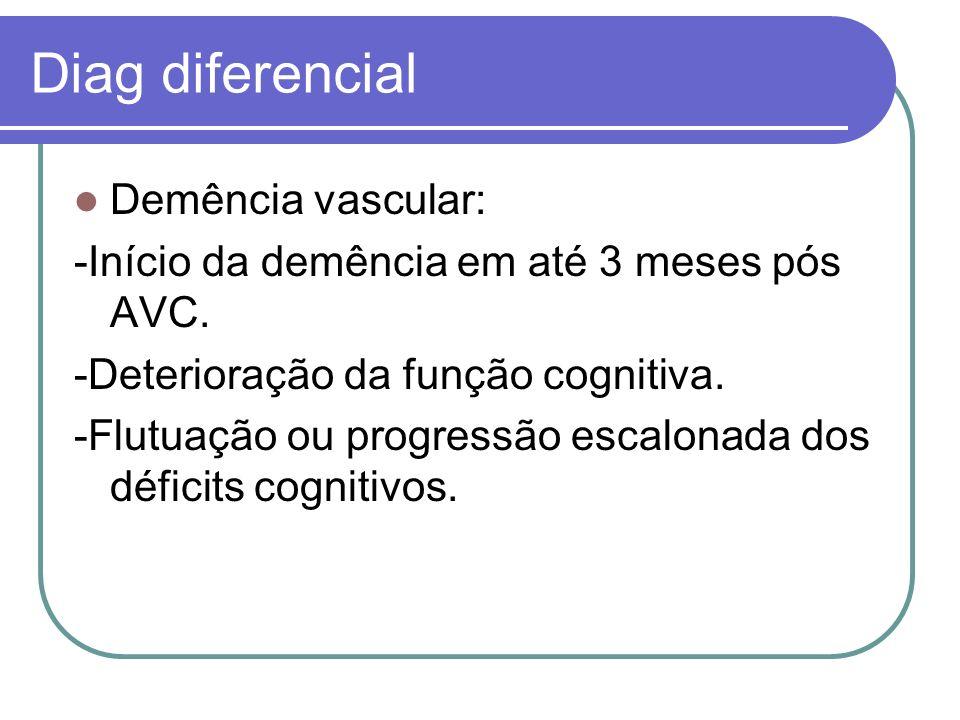 Diag diferencial Demência vascular: -Início da demência em até 3 meses pós AVC. -Deterioração da função cognitiva. -Flutuação ou progressão escalonada
