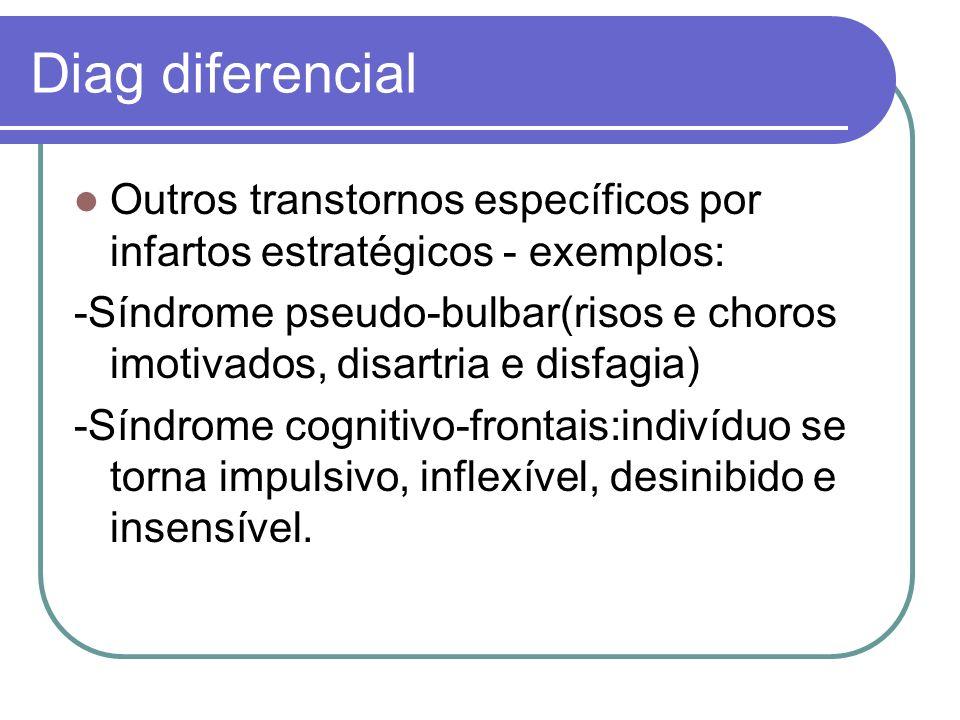 Diag diferencial Outros transtornos específicos por infartos estratégicos - exemplos: -Síndrome pseudo-bulbar(risos e choros imotivados, disartria e d