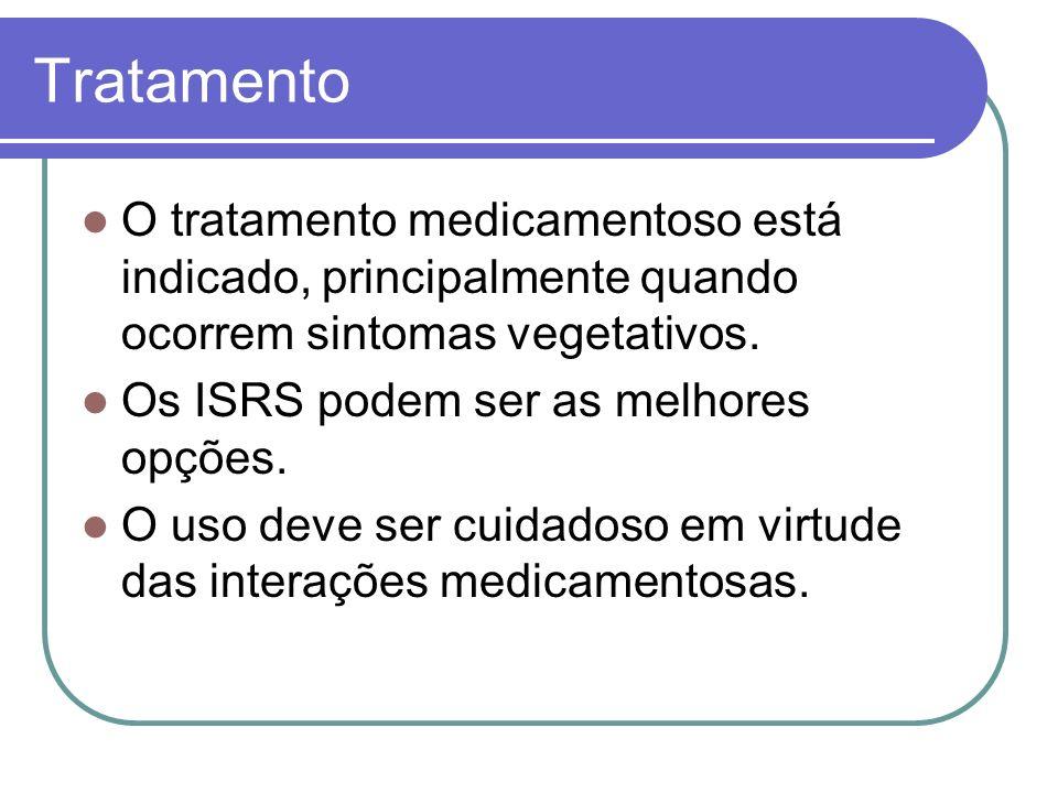 Tratamento O tratamento medicamentoso está indicado, principalmente quando ocorrem sintomas vegetativos. Os ISRS podem ser as melhores opções. O uso d
