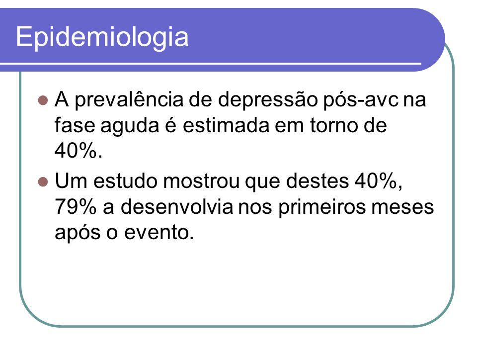 Epidemiologia A prevalência de depressão pós-avc na fase aguda é estimada em torno de 40%. Um estudo mostrou que destes 40%, 79% a desenvolvia nos pri