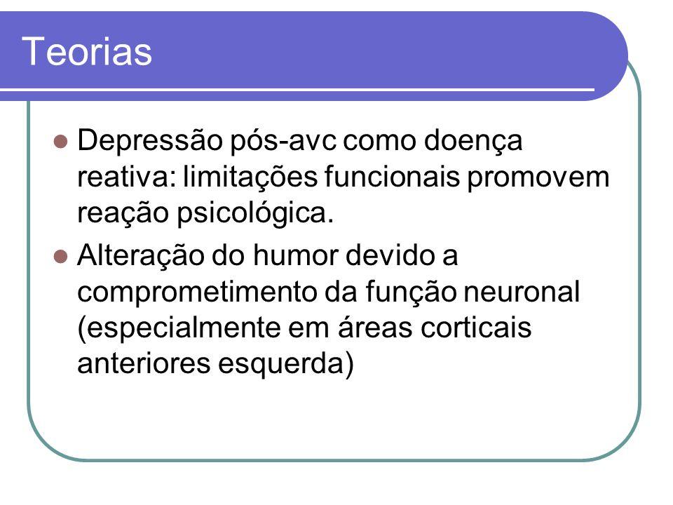 Teorias Depressão pós-avc como doença reativa: limitações funcionais promovem reação psicológica. Alteração do humor devido a comprometimento da funçã