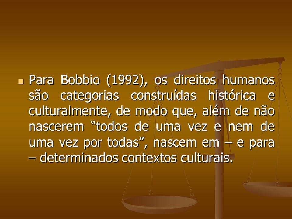 Para Bobbio (1992), os direitos humanos são categorias construídas histórica e culturalmente, de modo que, além de não nascerem todos de uma vez e nem