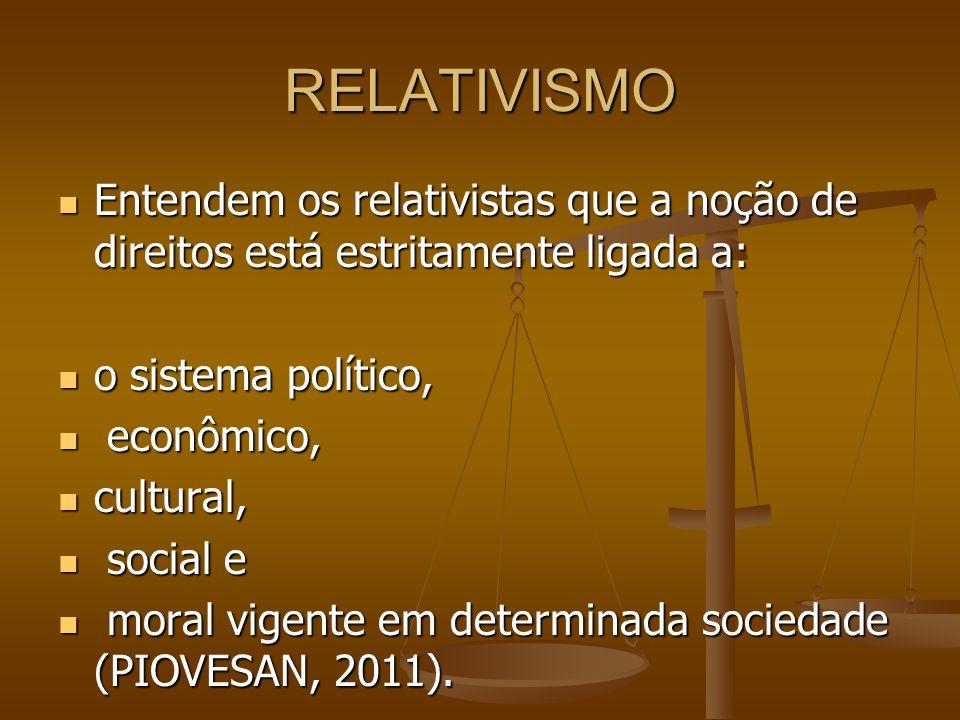 RELATIVISMO Entendem os relativistas que a noção de direitos está estritamente ligada a: Entendem os relativistas que a noção de direitos está estrita