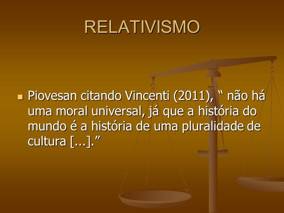RELATIVISMO Piovesan citando Vincenti (2011), não há uma moral universal, já que a história do mundo é a história de uma pluralidade de cultura [...].