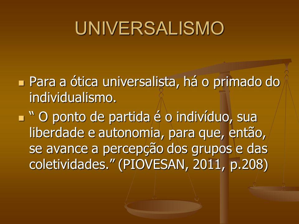 UNIVERSALISMO Para a ótica universalista, há o primado do individualismo. Para a ótica universalista, há o primado do individualismo. O ponto de parti