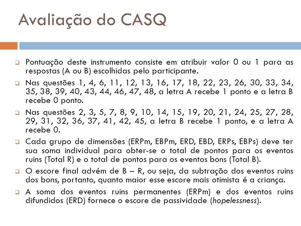 Avaliação do CASQ Pontuação deste instrumento consiste em atribuir valor 0 ou 1 para as respostas (A ou B) escolhidas pelo participante. Nas questões