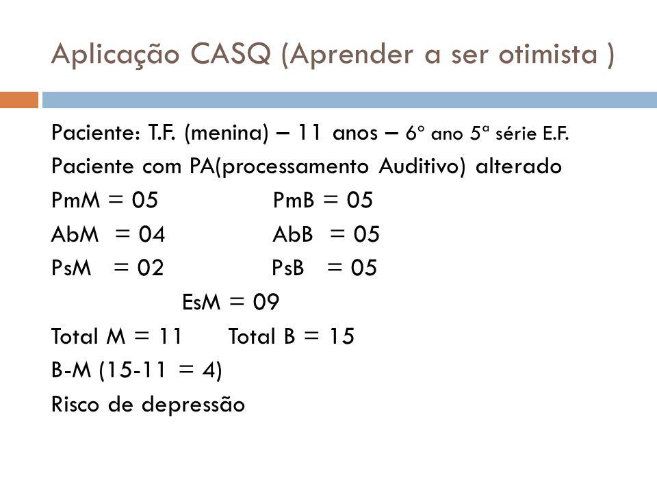 Aplicação CASQ (Aprender a ser otimista ) Paciente: T.F. (menina) – 11 anos – 6º ano 5ª série E.F. Paciente com PA(processamento Auditivo) alterado Pm