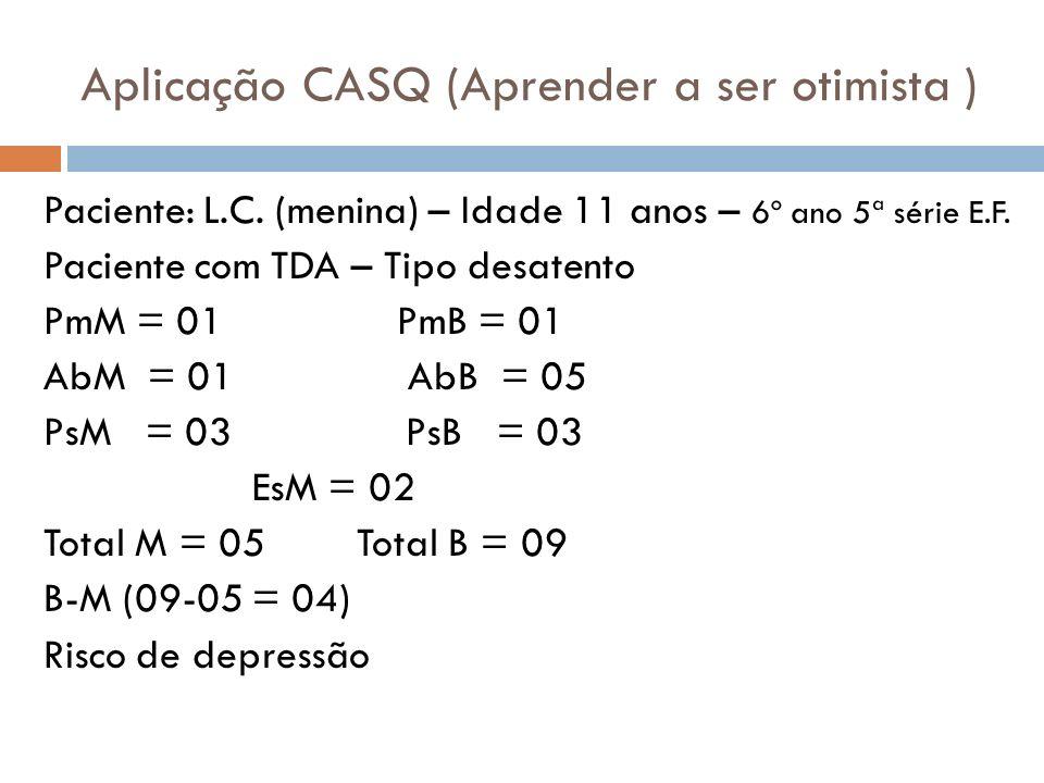 Aplicação CASQ (Aprender a ser otimista ) Paciente: L.C. (menina) – Idade 11 anos – 6º ano 5ª série E.F. Paciente com TDA – Tipo desatento PmM = 01 Pm