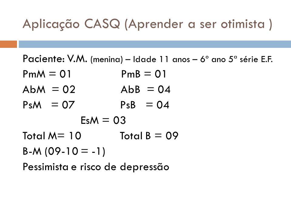 Aplicação CASQ (Aprender a ser otimista ) Paciente: V.M. (menina) – Idade 11 anos – 6º ano 5ª série E.F. PmM = 01 PmB = 01 AbM = 02 AbB = 04 PsM = 07