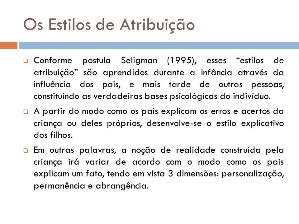 Os Estilos de Atribuição Conforme postula Seligman (1995), esses estilos de atribuição são aprendidos durante a infância através da influência dos pai