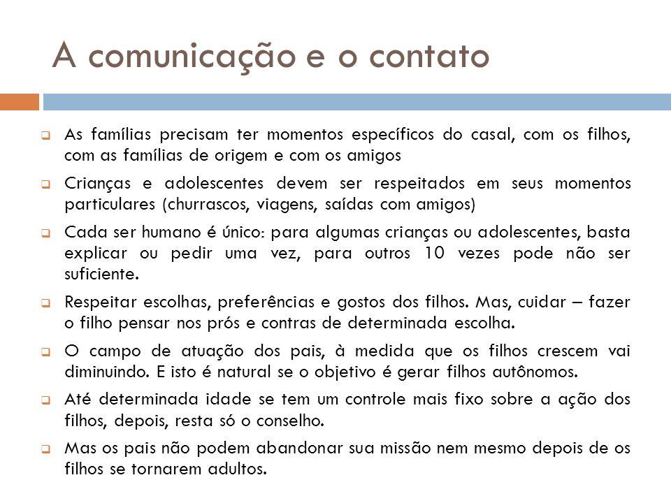 A comunicação e o contato As famílias precisam ter momentos específicos do casal, com os filhos, com as famílias de origem e com os amigos Crianças e
