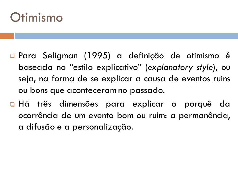 Três dimensões para o estilo explicativo Permanência = o quanto os efeitos do evento se prolongam no tempo; Difusão= o quanto os efeitos do evento se propagam para outras situações; Personalização = o quanto a causa é atribuída a fatores externos ou internos (Seligman, 1995).