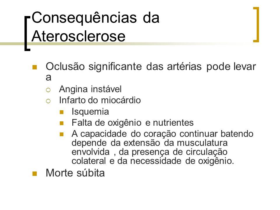 Consequências da Aterosclerose Oclusão significante das artérias pode levar a Angina instável Infarto do miocárdio Isquemia Falta de oxigênio e nutrie