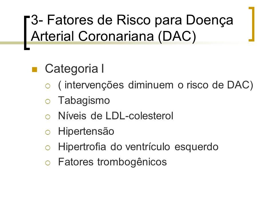 3- Fatores de Risco para Doença Arterial Coronariana (DAC) Categoria I ( intervenções diminuem o risco de DAC) Tabagismo Níveis de LDL-colesterol Hipe