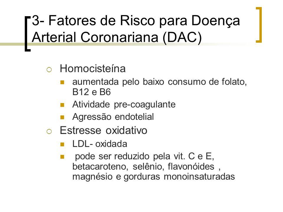 3- Fatores de Risco para Doença Arterial Coronariana (DAC) Homocisteína aumentada pelo baixo consumo de folato, B12 e B6 Atividade pre-coagulante Agre