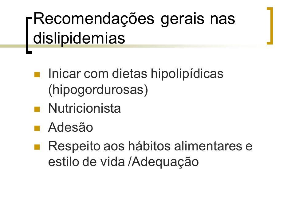 Recomendações gerais nas dislipidemias Inicar com dietas hipolipídicas (hipogordurosas) Nutricionista Adesão Respeito aos hábitos alimentares e estilo