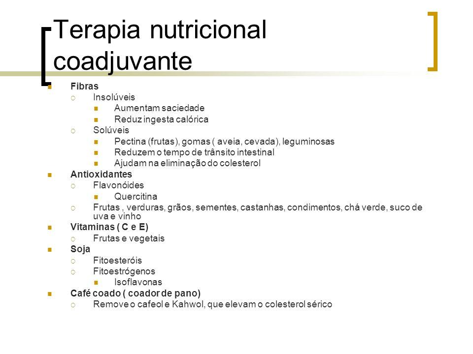 Terapia nutricional coadjuvante Fibras Insolúveis Aumentam saciedade Reduz ingesta calórica Solúveis Pectina (frutas), gomas ( aveia, cevada), legumin