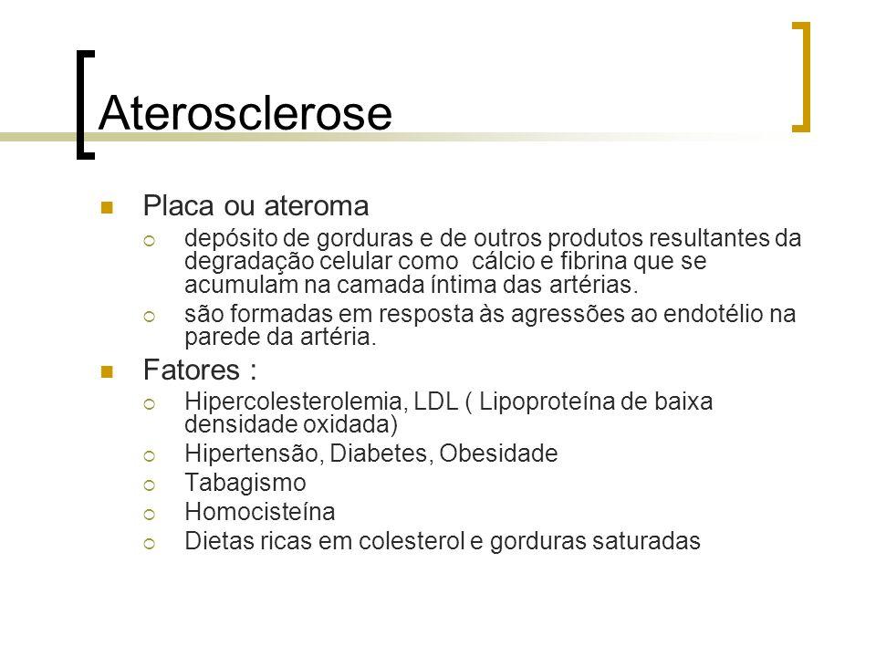 Aterosclerose Placa ou ateroma depósito de gorduras e de outros produtos resultantes da degradação celular como cálcio e fibrina que se acumulam na ca