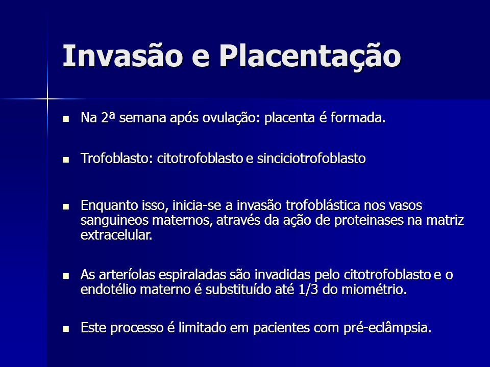 Invasão e Placentação Na 2ª semana após ovulação: placenta é formada.