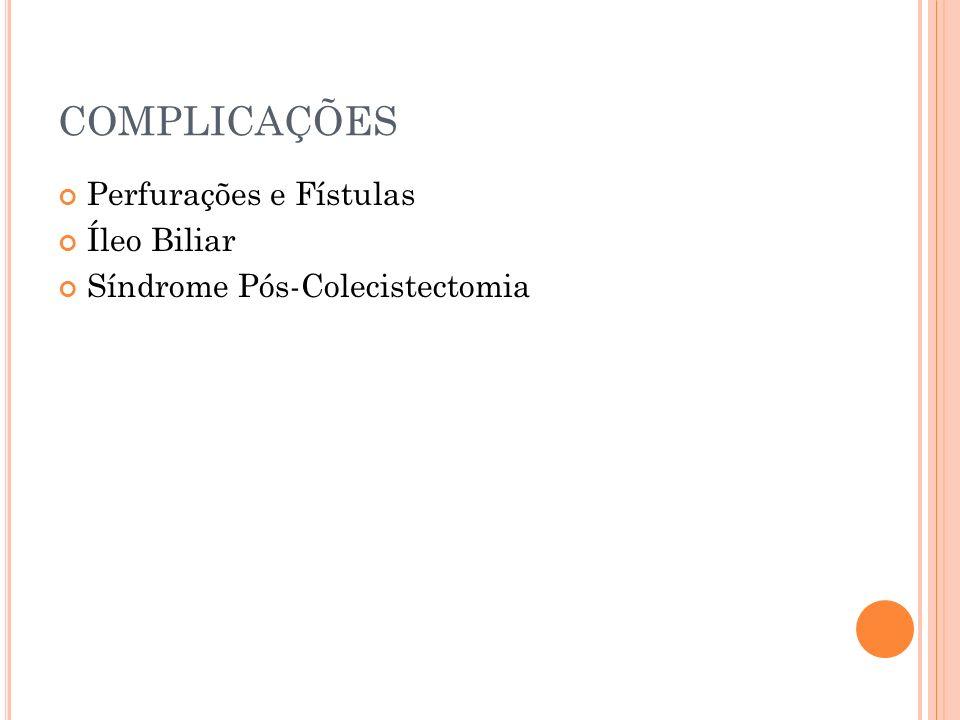 COMPLICAÇÕES Perfurações e Fístulas Íleo Biliar Síndrome Pós-Colecistectomia