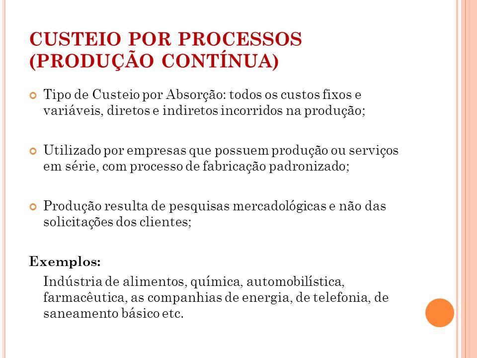 CUSTEIO POR PROCESSOS (PRODUÇÃO CONTÍNUA) Tipo de Custeio por Absorção: todos os custos fixos e variáveis, diretos e indiretos incorridos na produção;