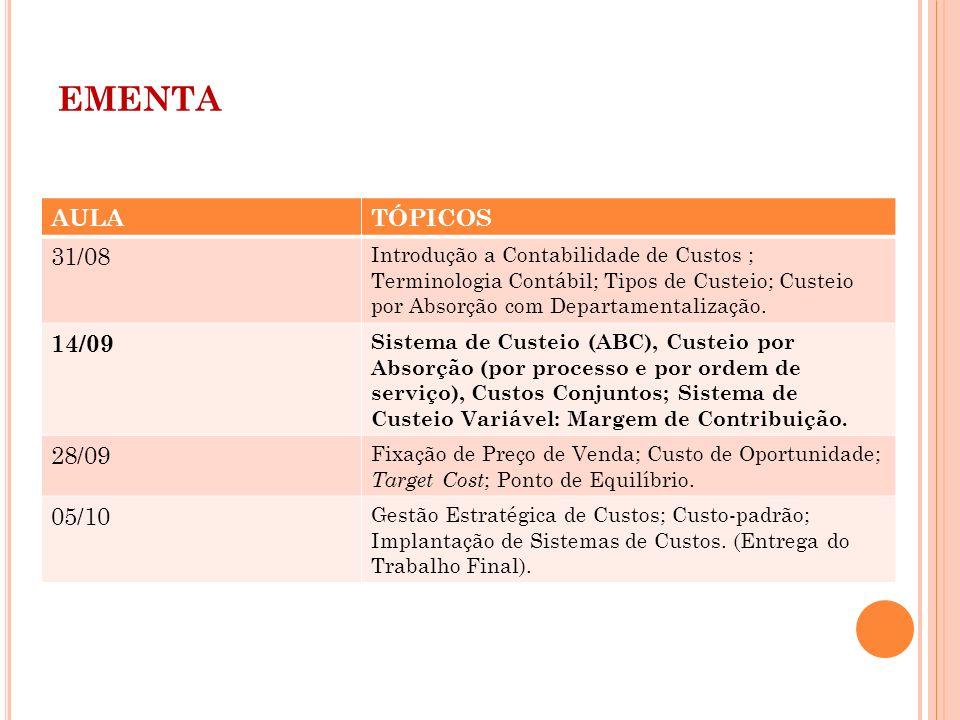 EMENTA AULATÓPICOS 31/08 Introdução a Contabilidade de Custos ; Terminologia Contábil; Tipos de Custeio; Custeio por Absorção com Departamentalização.
