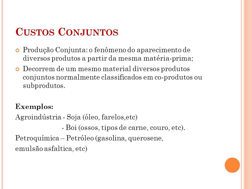 C USTOS C ONJUNTOS Produção Conjunta: o fenômeno do aparecimento de diversos produtos a partir da mesma matéria-prima; Decorrem de um mesmo material d