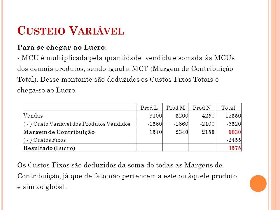 C USTEIO V ARIÁVEL Para se chegar ao Lucro : - MCU é multiplicada pela quantidade vendida e somada às MCUs dos demais produtos, sendo igual a MCT (Mar