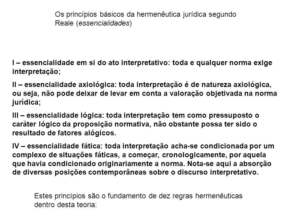 1) a interpretação jurídica tem caráter unitário, sendo as diversas formas momentos de uma unidade de compreensão.