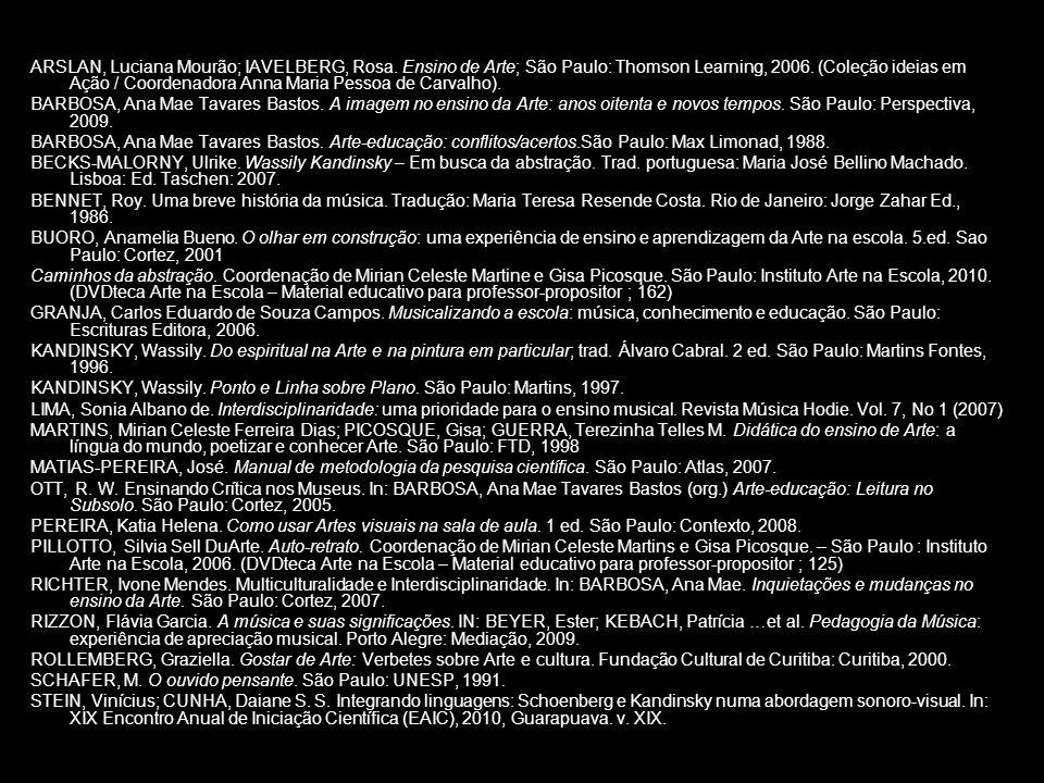 ARSLAN, Luciana Mourão; IAVELBERG, Rosa. Ensino de Arte; São Paulo: Thomson Learning, 2006. (Coleção ideias em Ação / Coordenadora Anna Maria Pessoa d