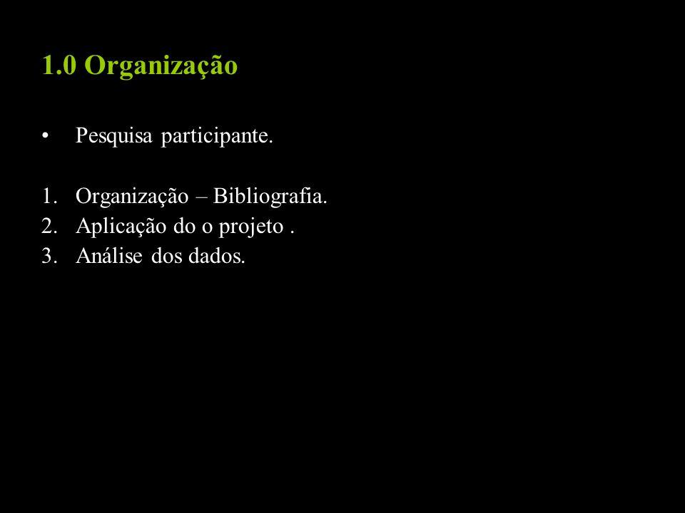 1.0 Organização Pesquisa participante. 1.Organização – Bibliografia. 2.Aplicação do o projeto. 3.Análise dos dados.