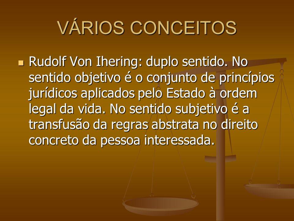 VÁRIOS CONCEITOS Rudolf Von Ihering: duplo sentido. No sentido objetivo é o conjunto de princípios jurídicos aplicados pelo Estado à ordem legal da vi