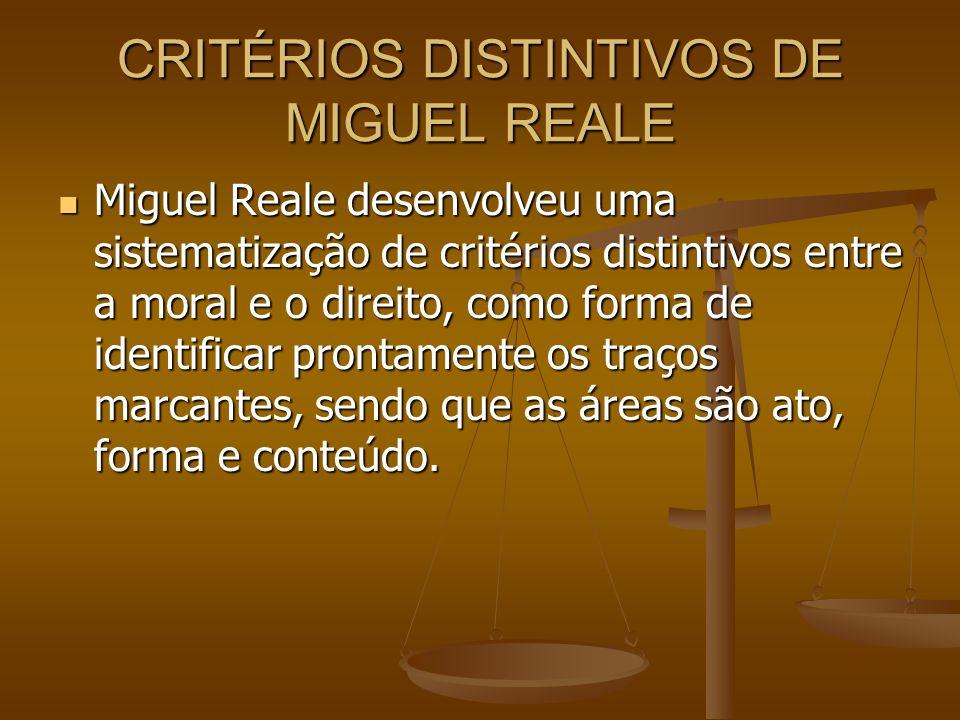CRITÉRIOS DISTINTIVOS DE MIGUEL REALE Miguel Reale desenvolveu uma sistematização de critérios distintivos entre a moral e o direito, como forma de id